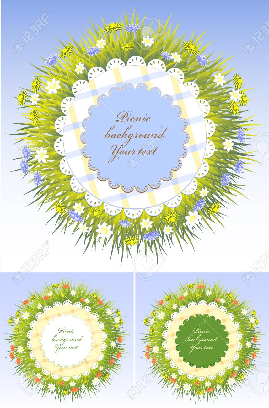 Set Picnic Frames With Grass And Flowers For Spring Or Summer ...