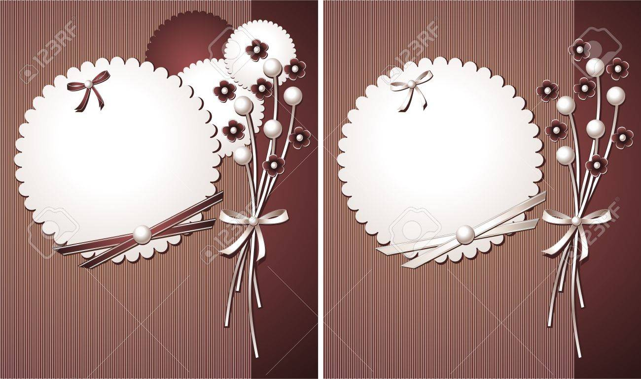 Pearl design with flowers, with frame, ribbons, bows for decoration and accessory Stock Vector - 13862240