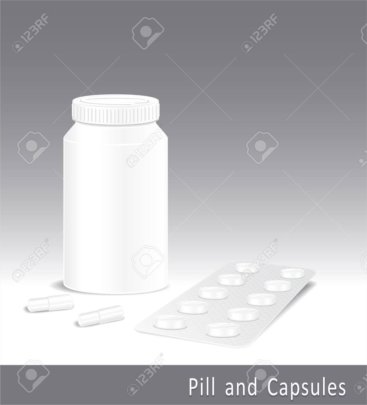 Template for pharmaceuticals and pharmacy of pills capsules and bottle Stock Vector - 15887818