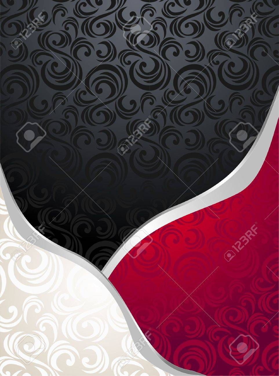 Abstract Seamless Pattern Or Background Red Silver Black Colors