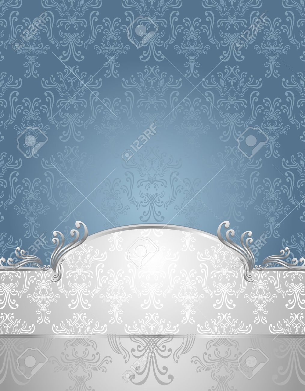 Set Seamless pattern in Victorian style Blue and Silver colors or silver blue background Stock Vector - 18446846