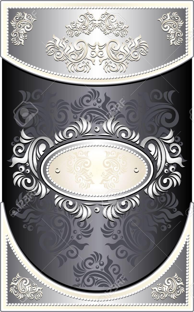 Vintage Frame or  label or menu with Floral background in black silver  color Stock Vector - 23644635