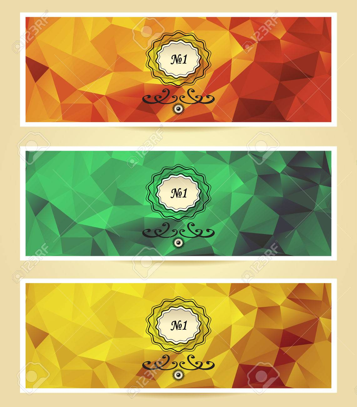 Abstract Triangle Banners Red Yellow Gold Green Color Royalty Free ...