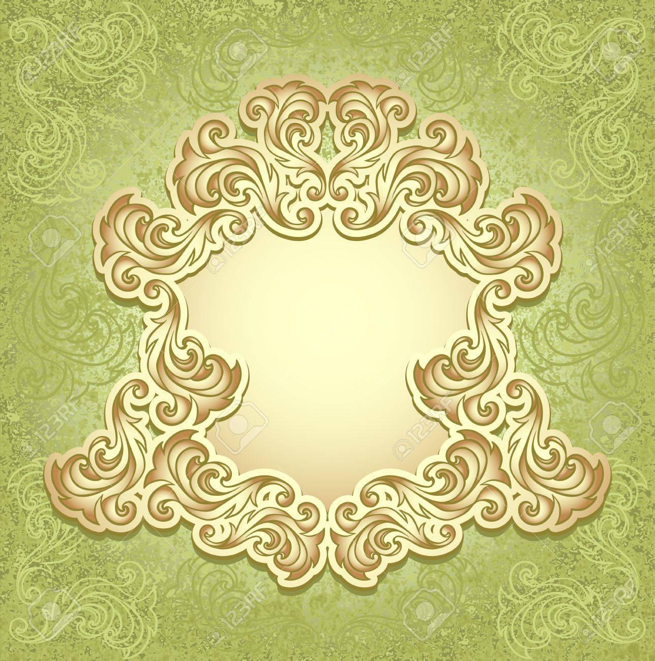 Vintage Frame Im Grunen Gold Farbe Fur Einladung Oder Gluckwunsche