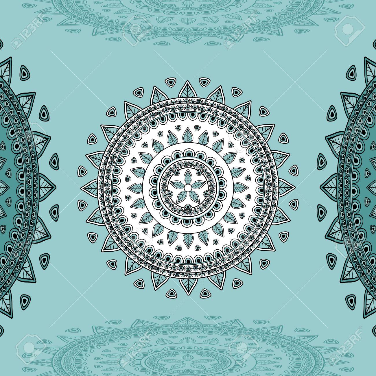 Decorar Cosas Arabes.Ornamento Circular En Fondo Azul Marino Para Los Elementos De Diseno O Para La Decoracion De Interiores En Este O En La India O En Estilo Arabe O Para