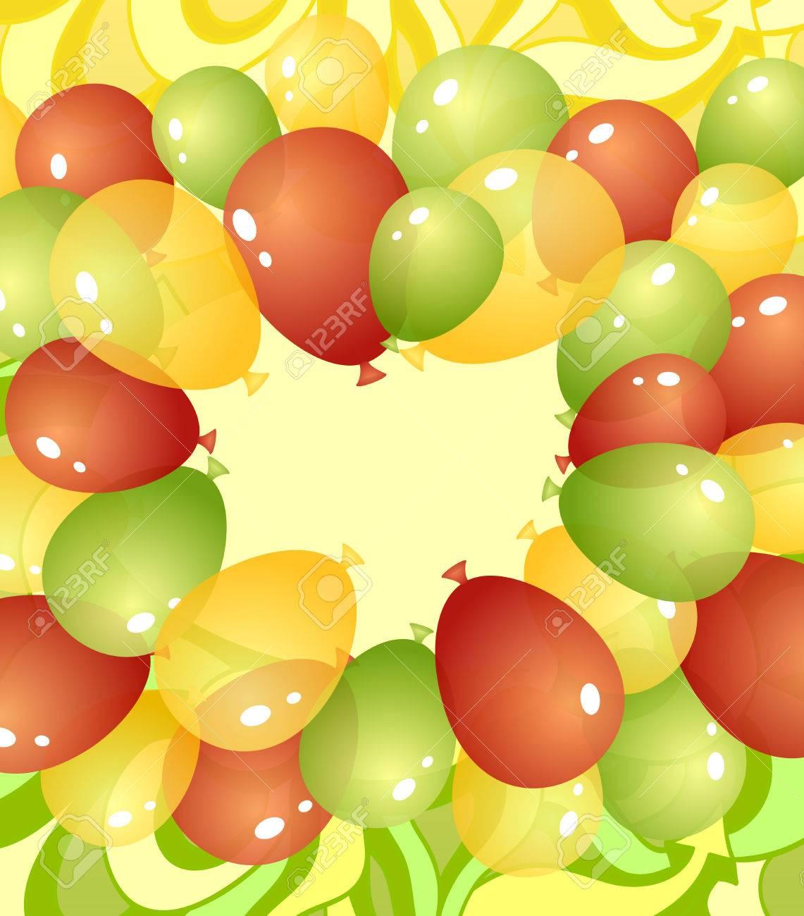 hintergrund von luftballons und abstrakte zeichnung in grün, rot, Einladungen