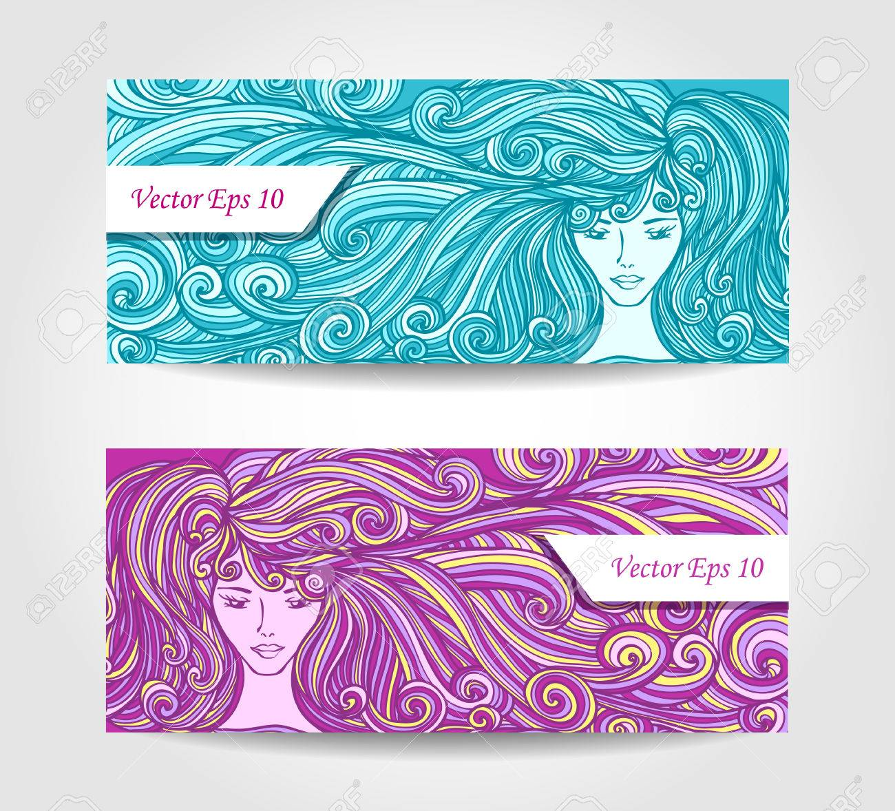 Rglez Bannires Ou Des Cartes De Visite Rduction Avec Belle Fille Longs Cheveux Boucls Couleur Lilas Cyan Pour Salon Coiffure