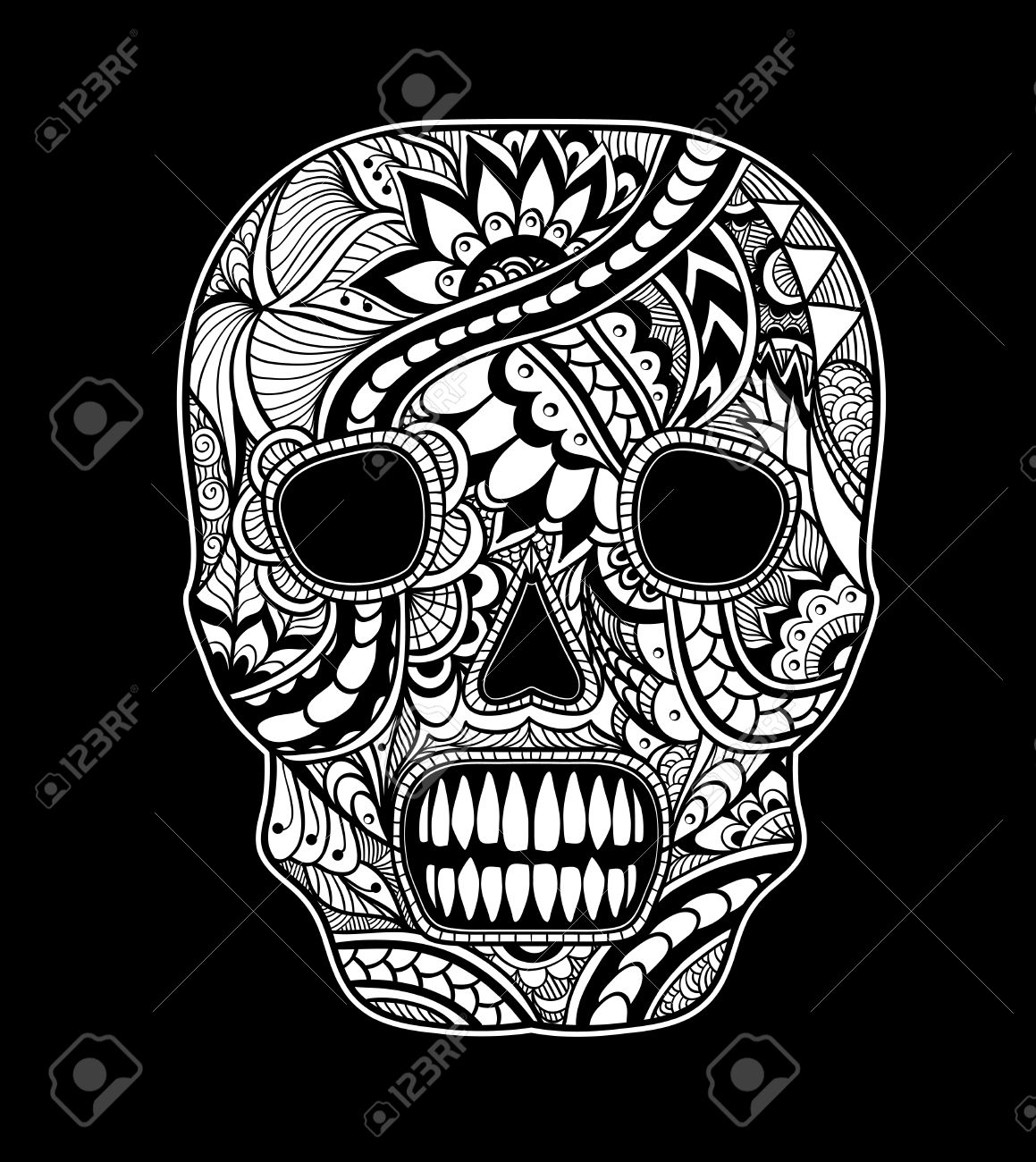 Decorate Skull Painted Ornament White On Black For Tattoo Or