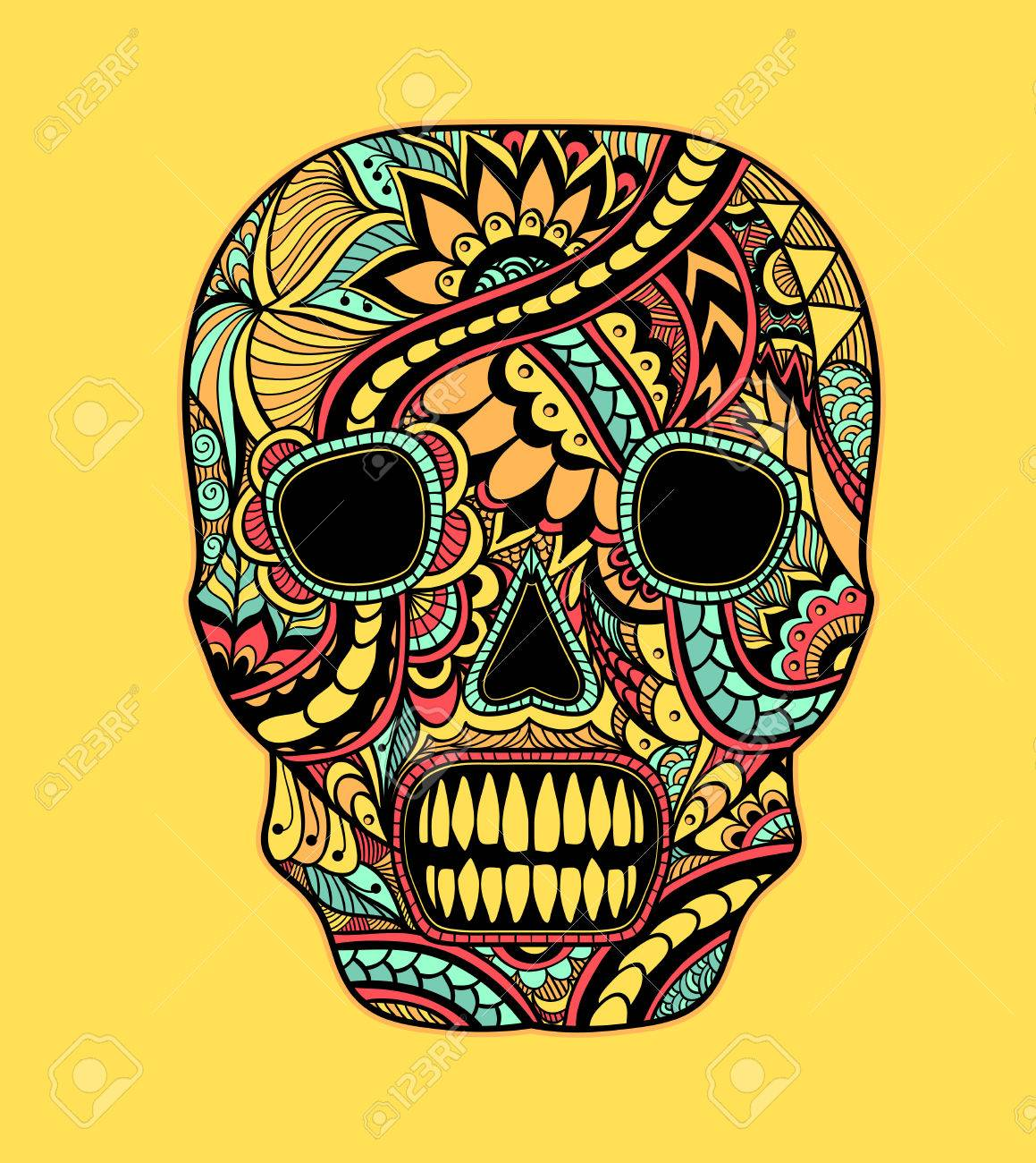 Decorate Skull Painted Ornament Full Colors On Yellow For Tattoo