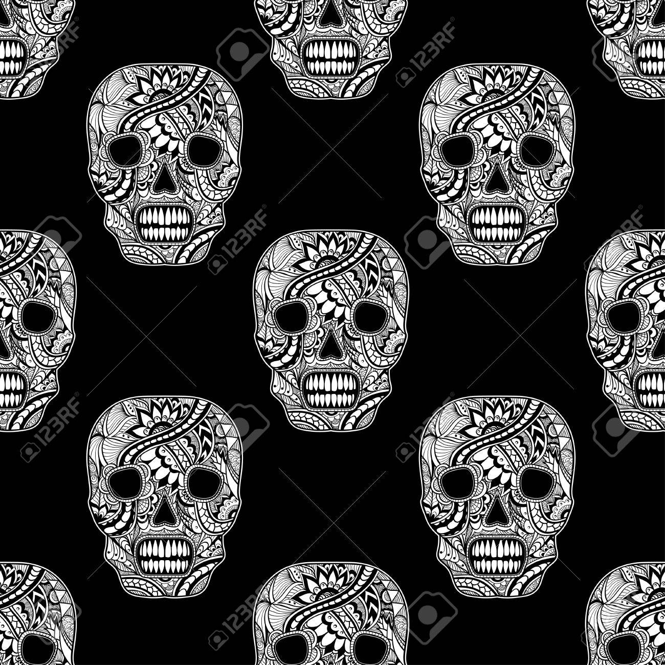 Seamless Pattern With Decorate Skull Painted Ornament White On