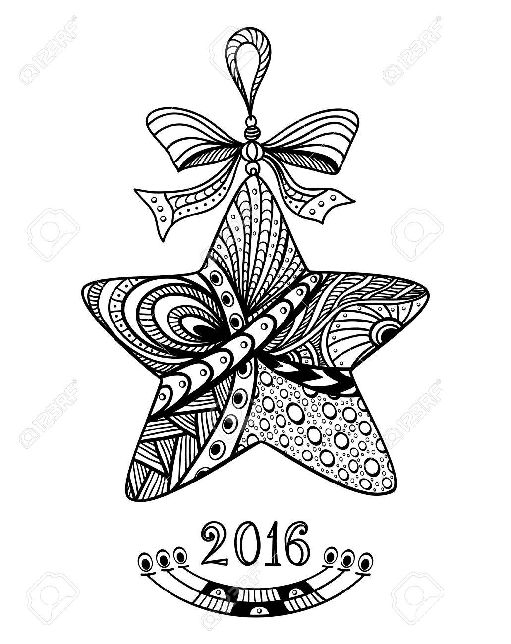Christmas Star In Zen Doodle Style Black On White Coloring Page For Book Or