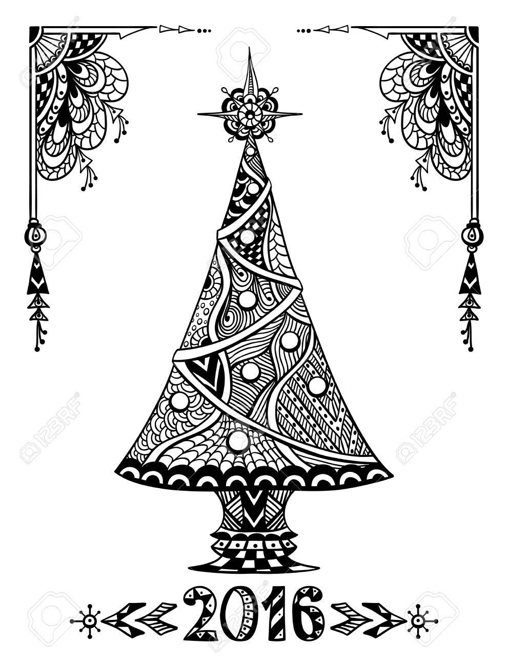 christmas tree in zen doodle style black on white coloring page for coloring book or