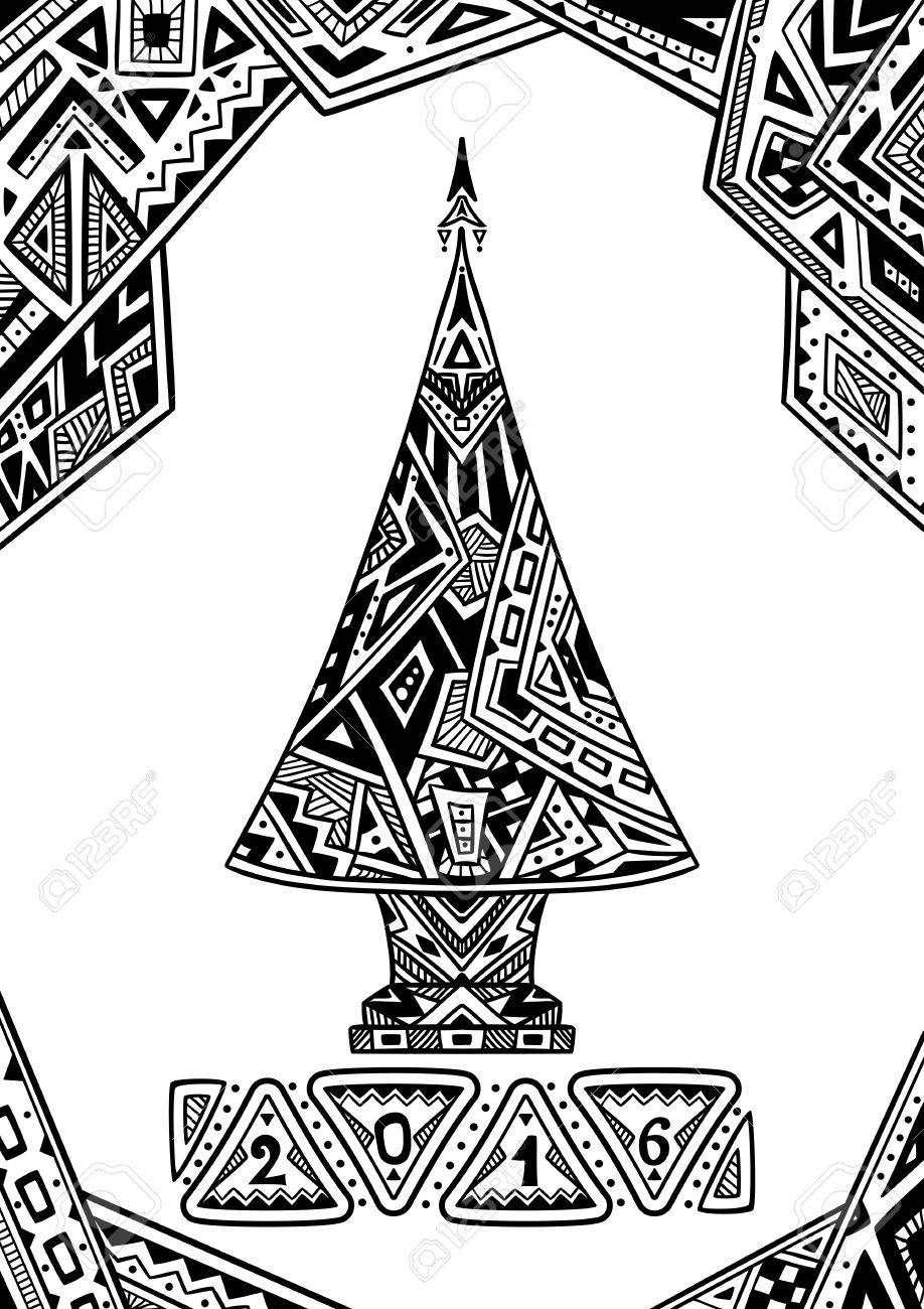 Christmas Tree In Zen Doodle Style Black On White Coloring Page For Book Or