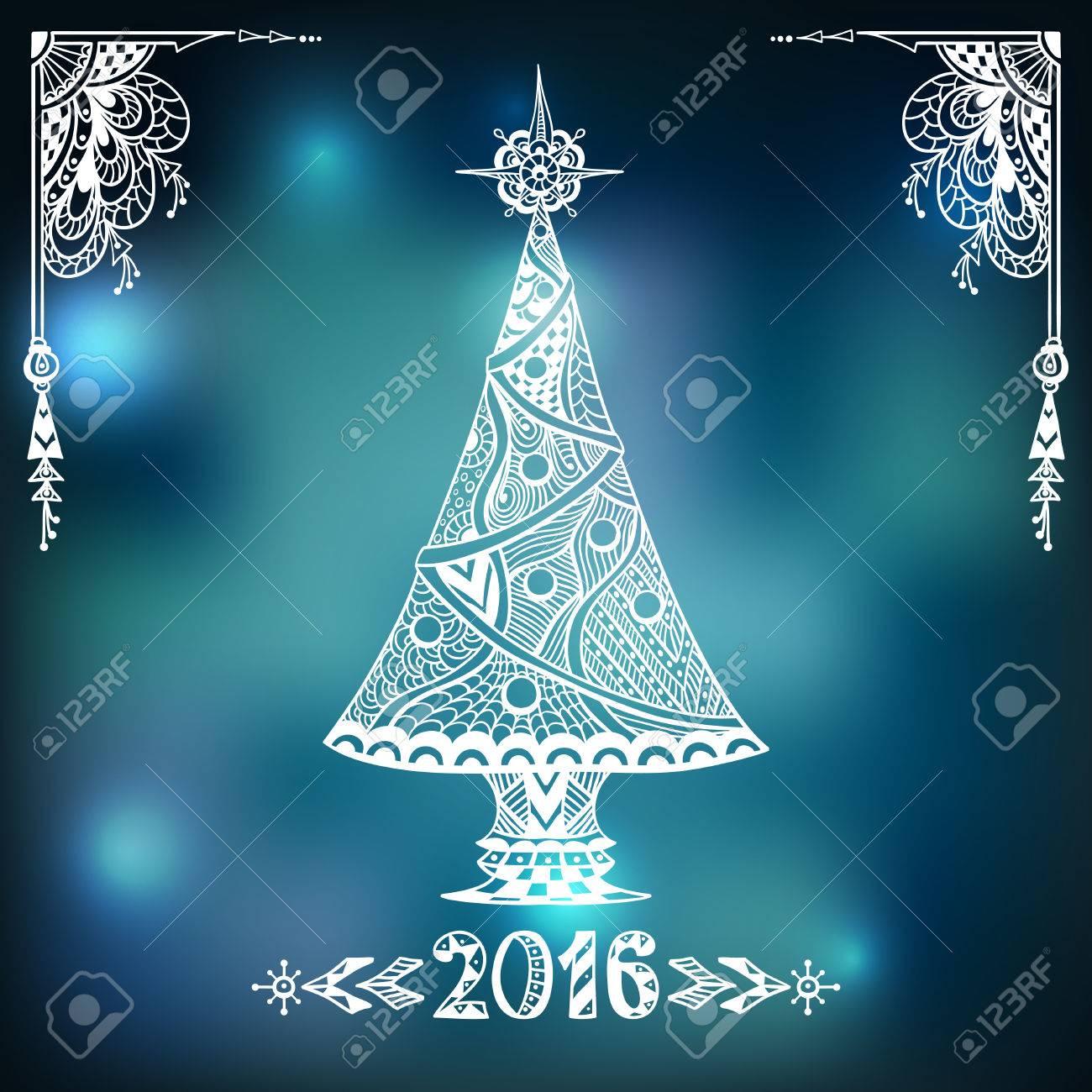 Immagini Natale Zen.Stile Albero Di Natale Nello Zen Doodle Su Sfondo Sfocato Nella Citta Di Luci Blu Creativa Post Card O Per La Decorazione Della Finestra Porta In