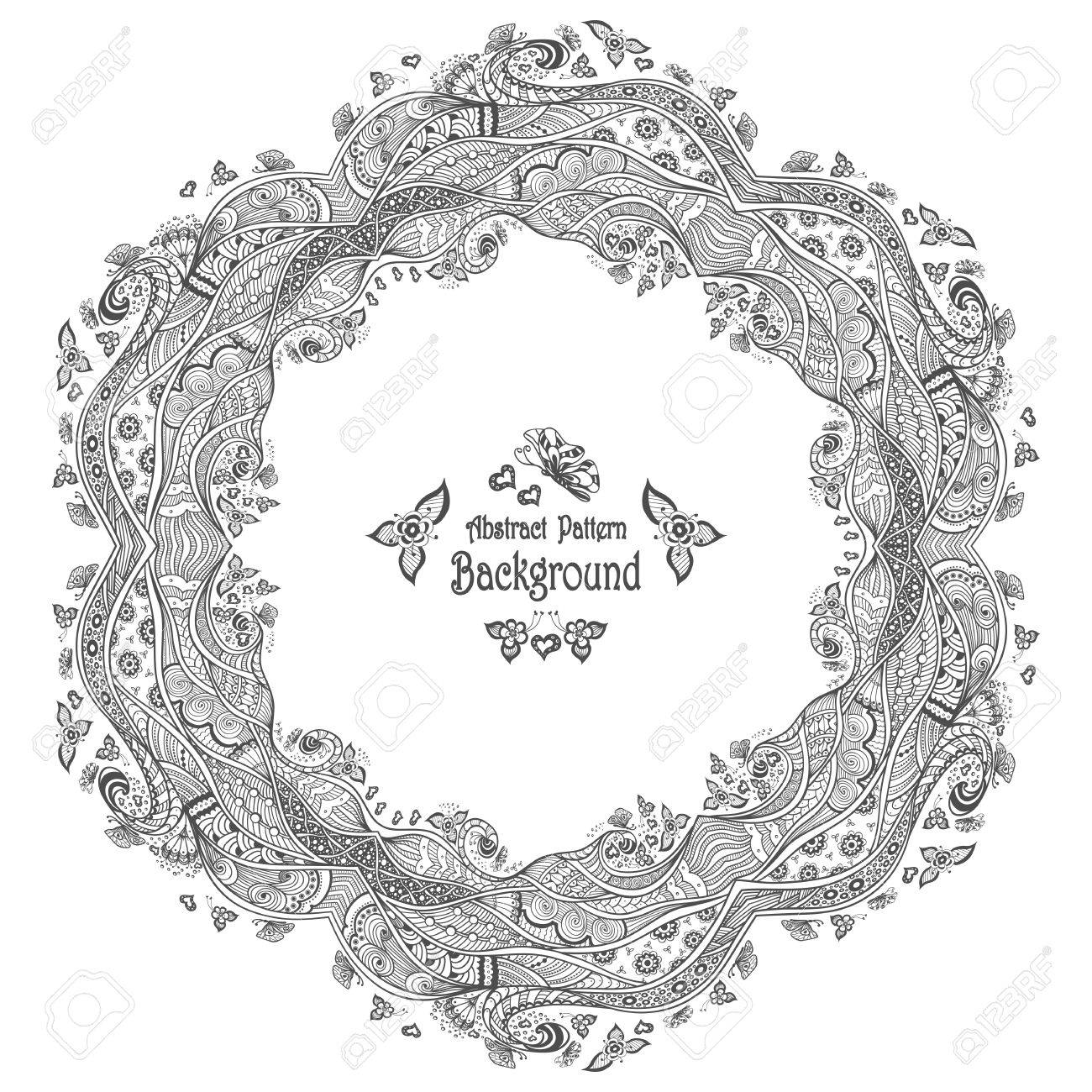 Abstract Circle Frame With Pattern Background In Zen-doodle Style ...