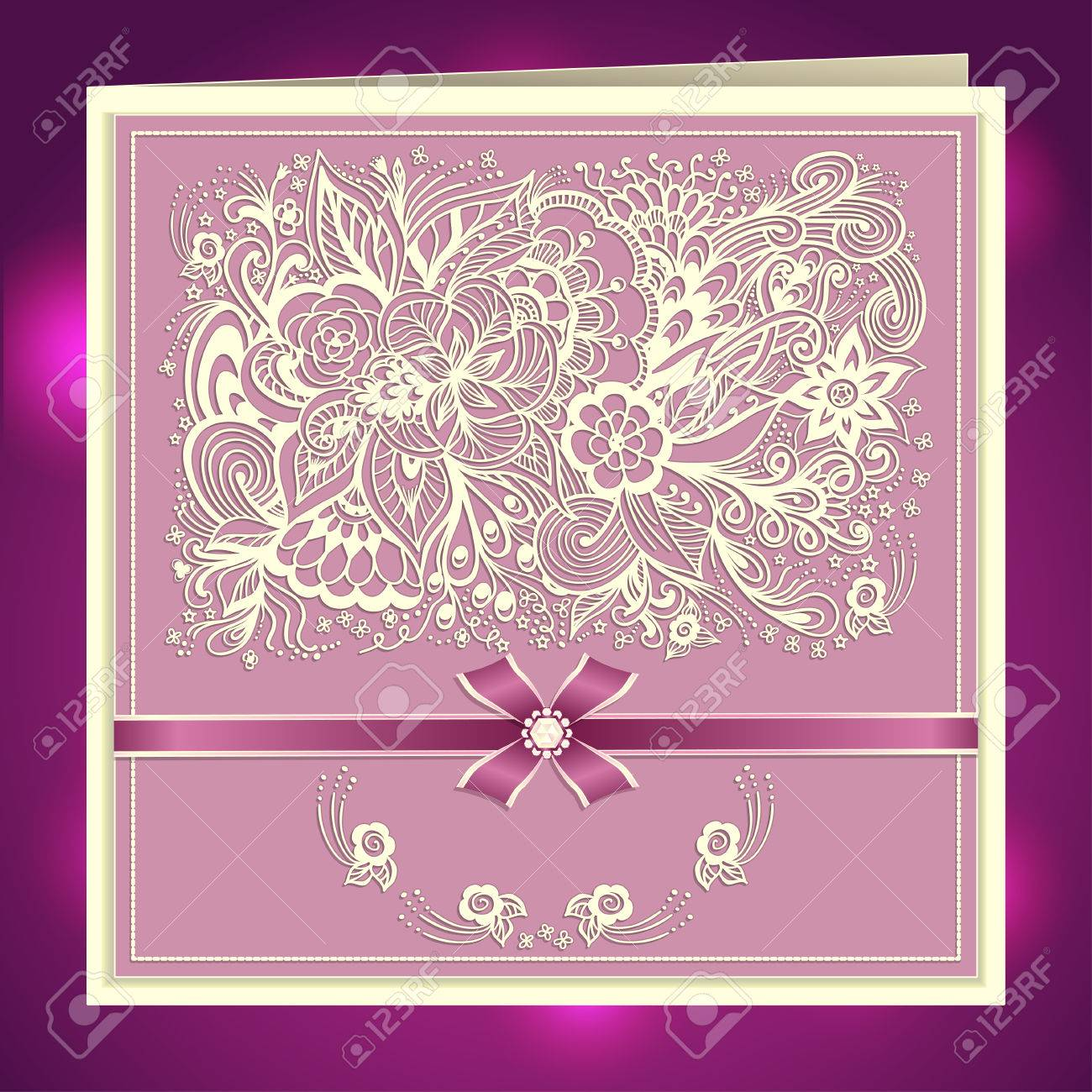 Wedding invitation with zen doodle flowers bow ribbon rhinestones vector wedding invitation with zen doodle flowers bow ribbon rhinestones in lilac pink colors or creative post card stopboris Image collections