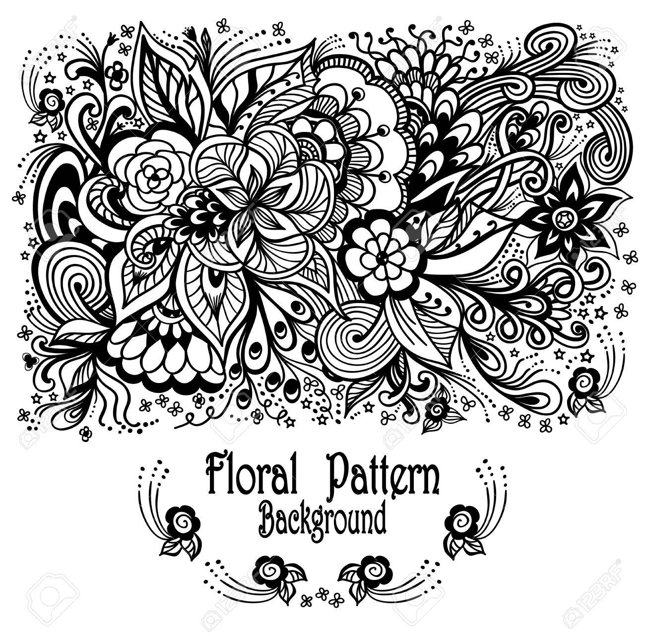 Hintergrund Mit Zen-Gekritzelblumen Muster Schwarz Auf Weiß Für ...