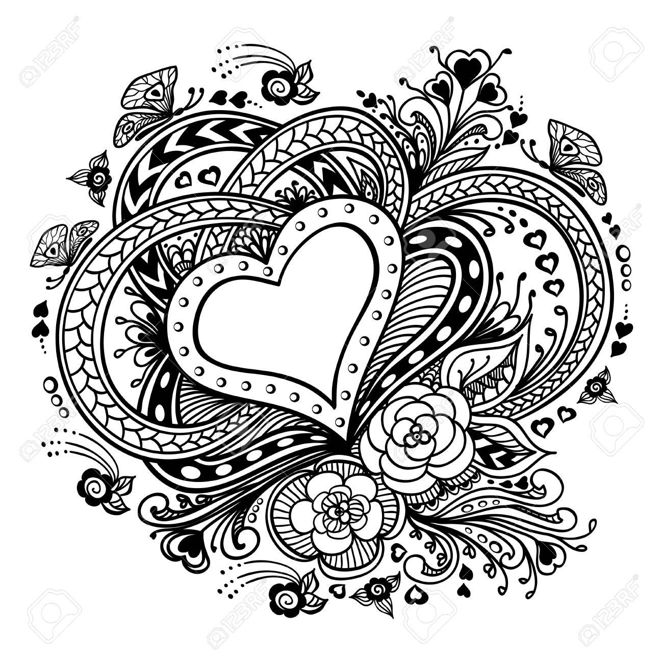 Zen-doodle Heart Frame With Flowers Butterflies Black On White ...