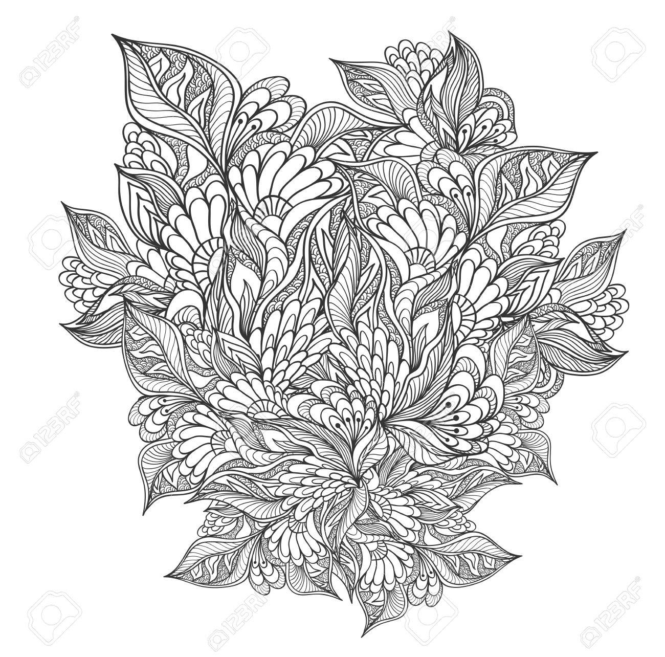 zen doodle floral flowers pattern or texture black on white for coloring page or relax coloring book
