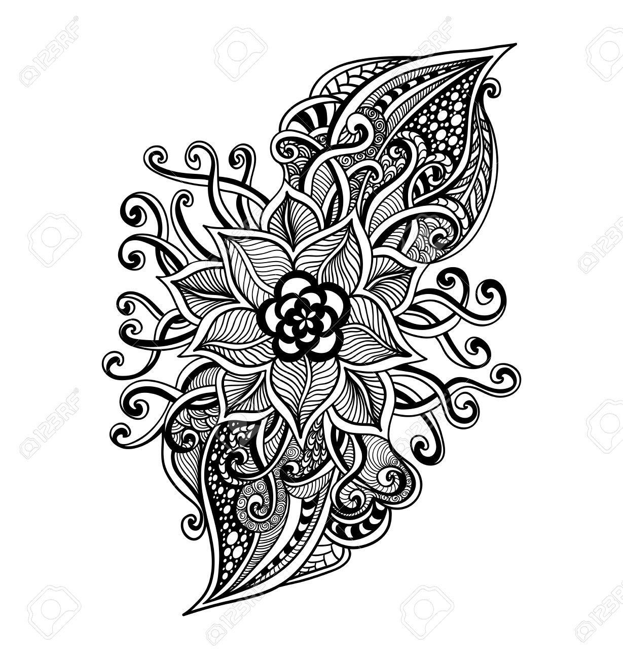 Zen Doodle Decorative Flower Black On White For Coloring Page Or Relax Book