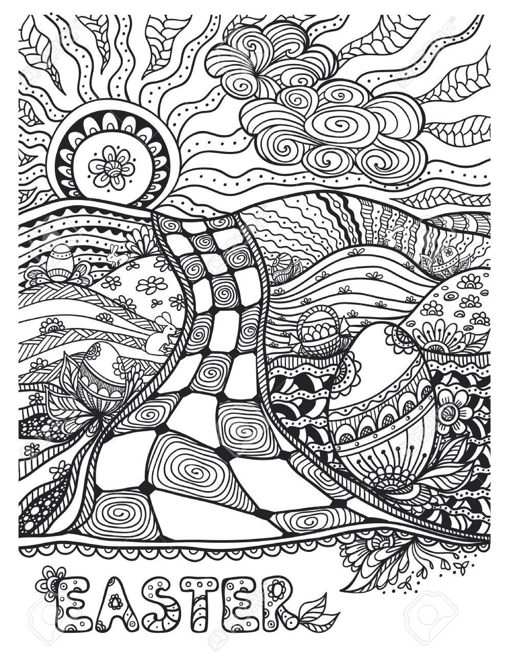 Zen Doodle Easter Landscape With Eggs Rabbits Black On White