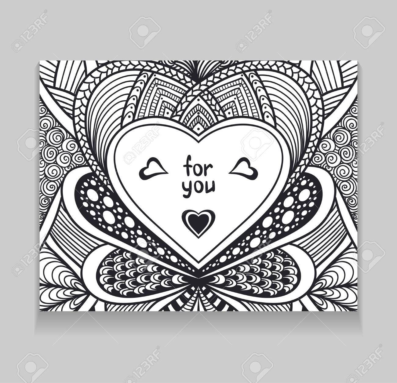Template With Zen Doodle Style Pattern And Heart Frame Black On White For Coloring Page