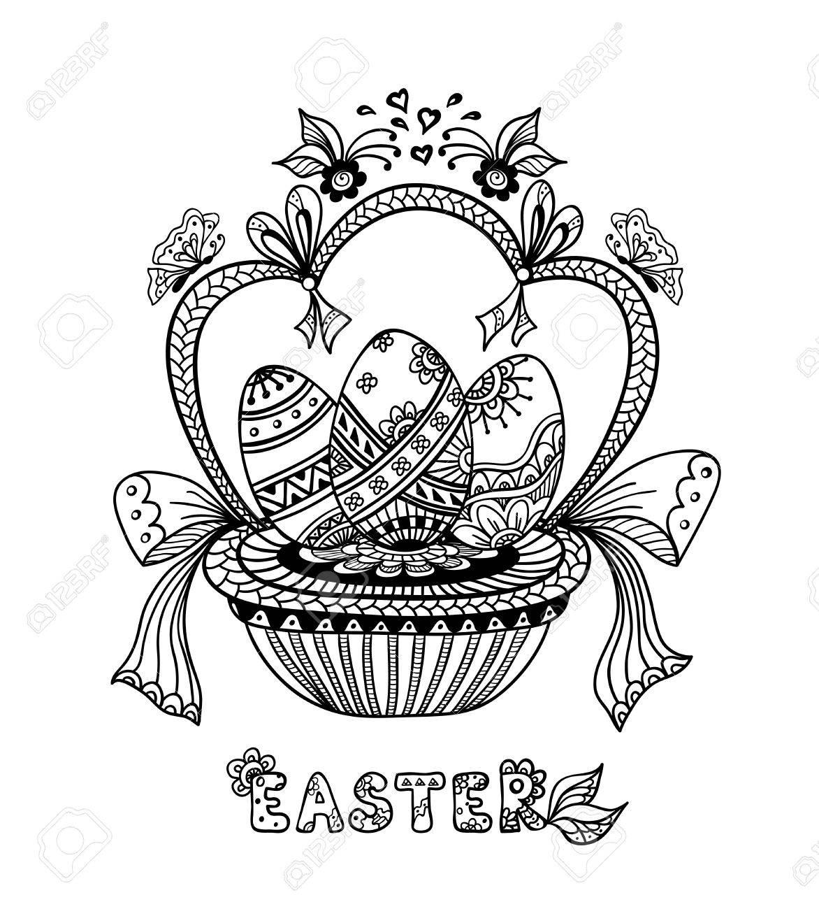 Zen-doodle Huevos De Pascua En La Cesta De Negro En El Blanco Para ...