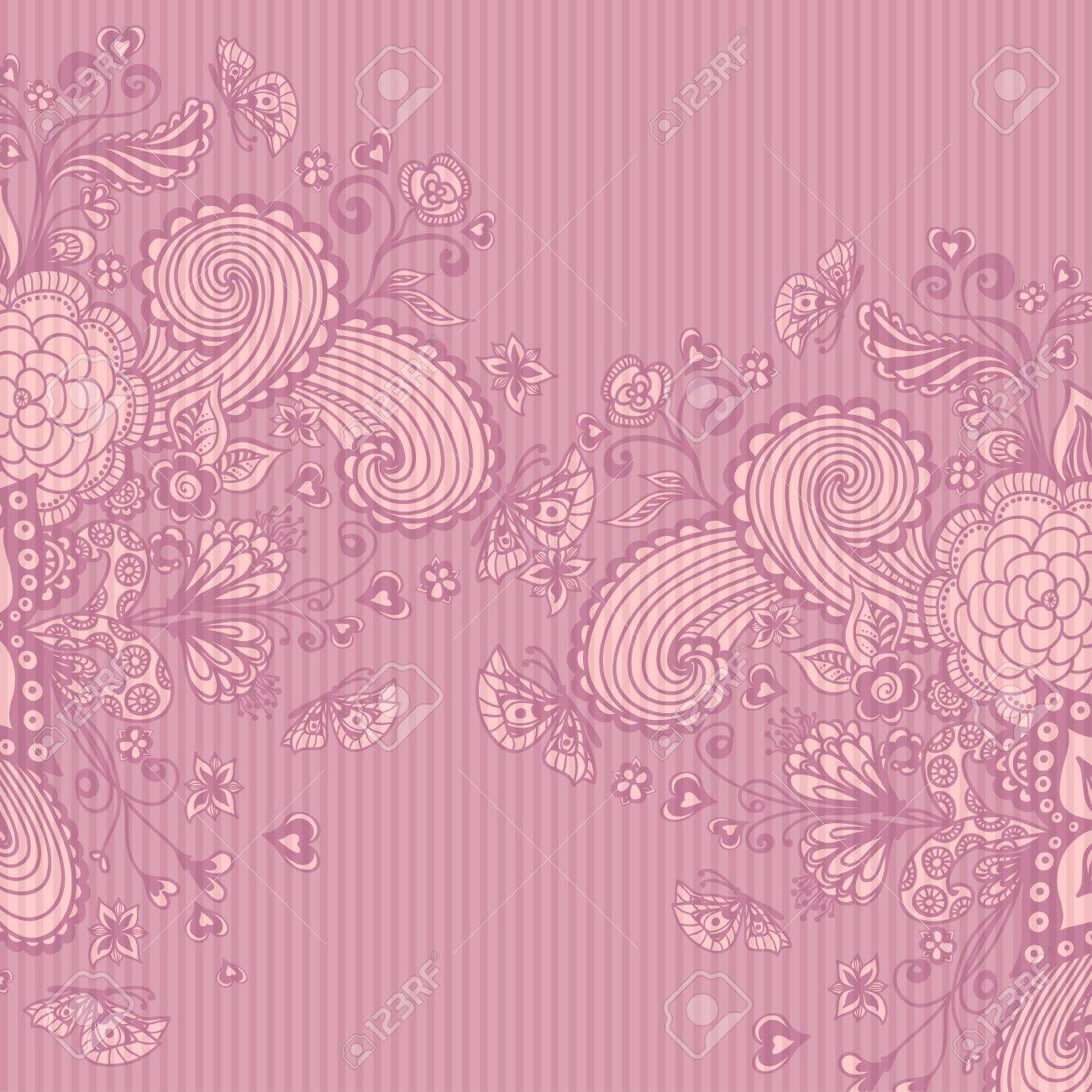 Vettoriale Vintage Sfondo Con Fiori Doodle Di Farfalle Cuori Di