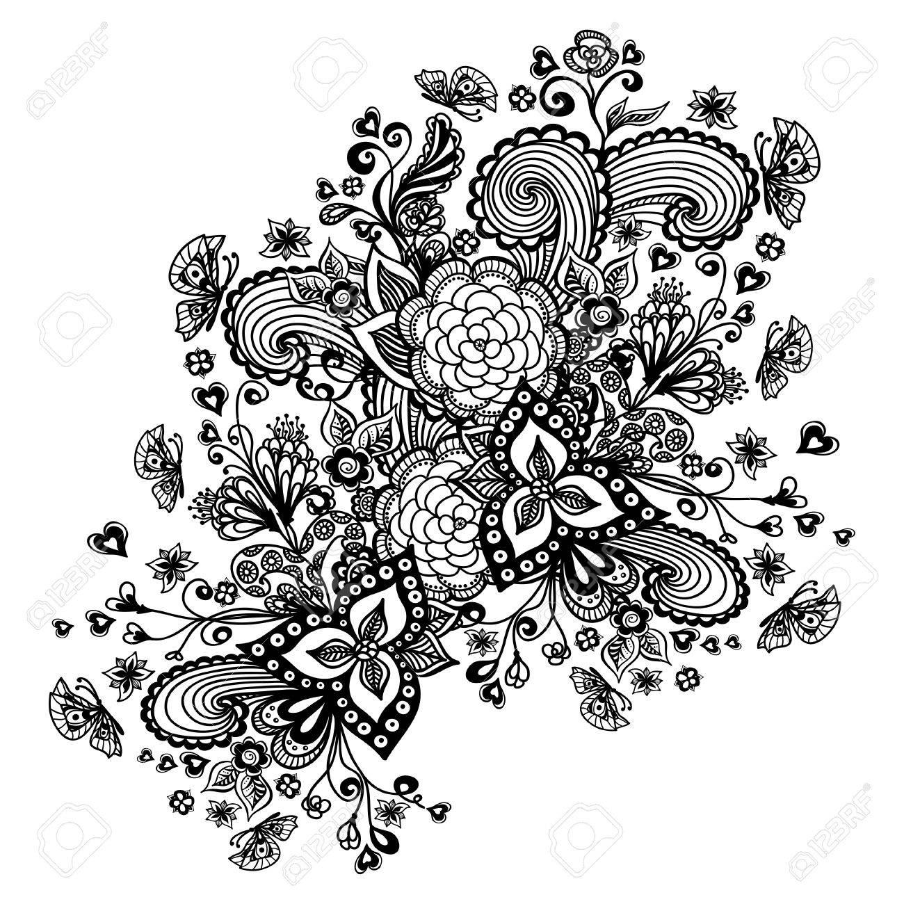 Zen Doodle Fondo O Patrón Con Flores Mariposas Corazones Negro En