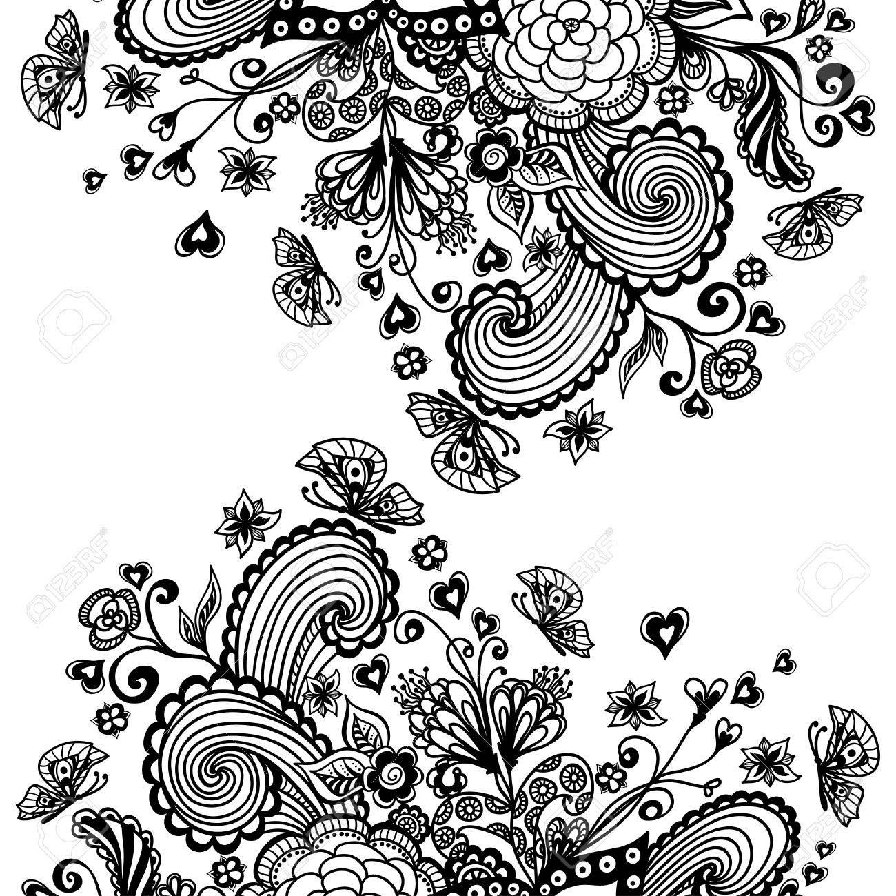 Zen-doodle Background Or Pattern With Flowers Butterflies Hearts ...