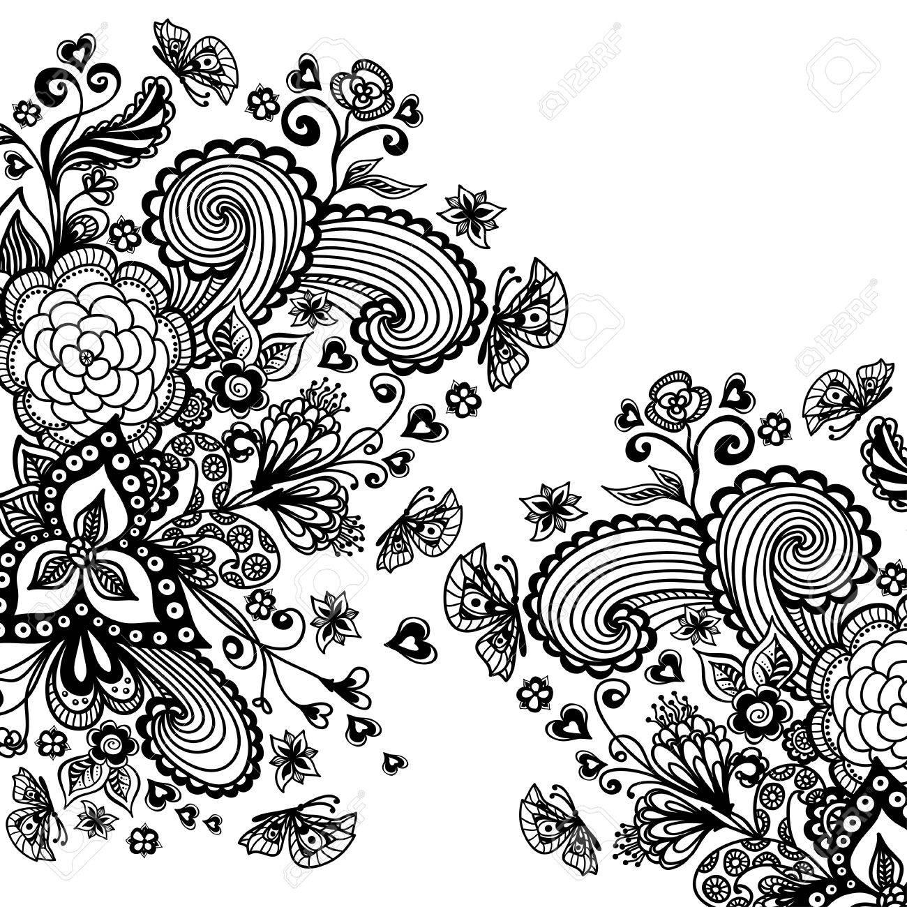 Zen-doodle Hintergrund Oder Muster Mit Blumen Schmetterlinge Herzen ...
