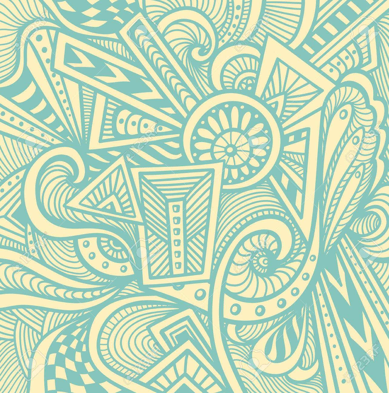 Abstract Pattern In Zen Tangle Or Doodle Style Beige Light Blue For Wallpaper