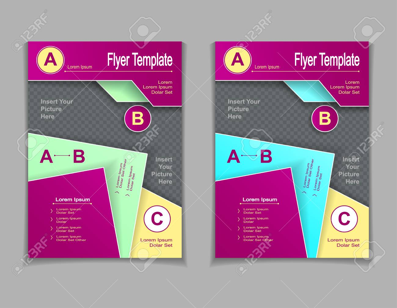 Set Template Of Flyers Or Brochures Or Magazines With Cut Paper