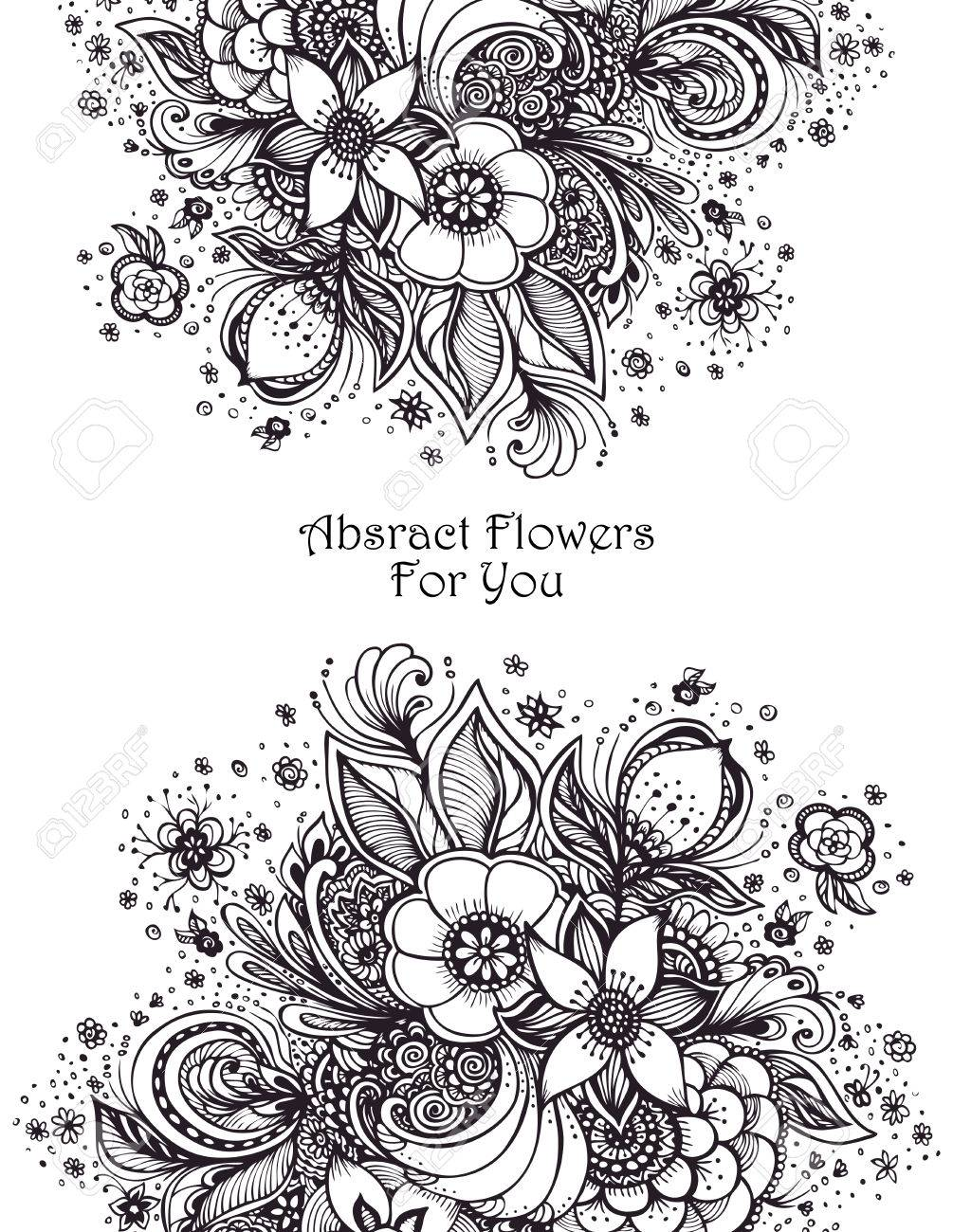 Plantilla Con Flores Abstractas Ramo Negro Sobre Blanco Para ...