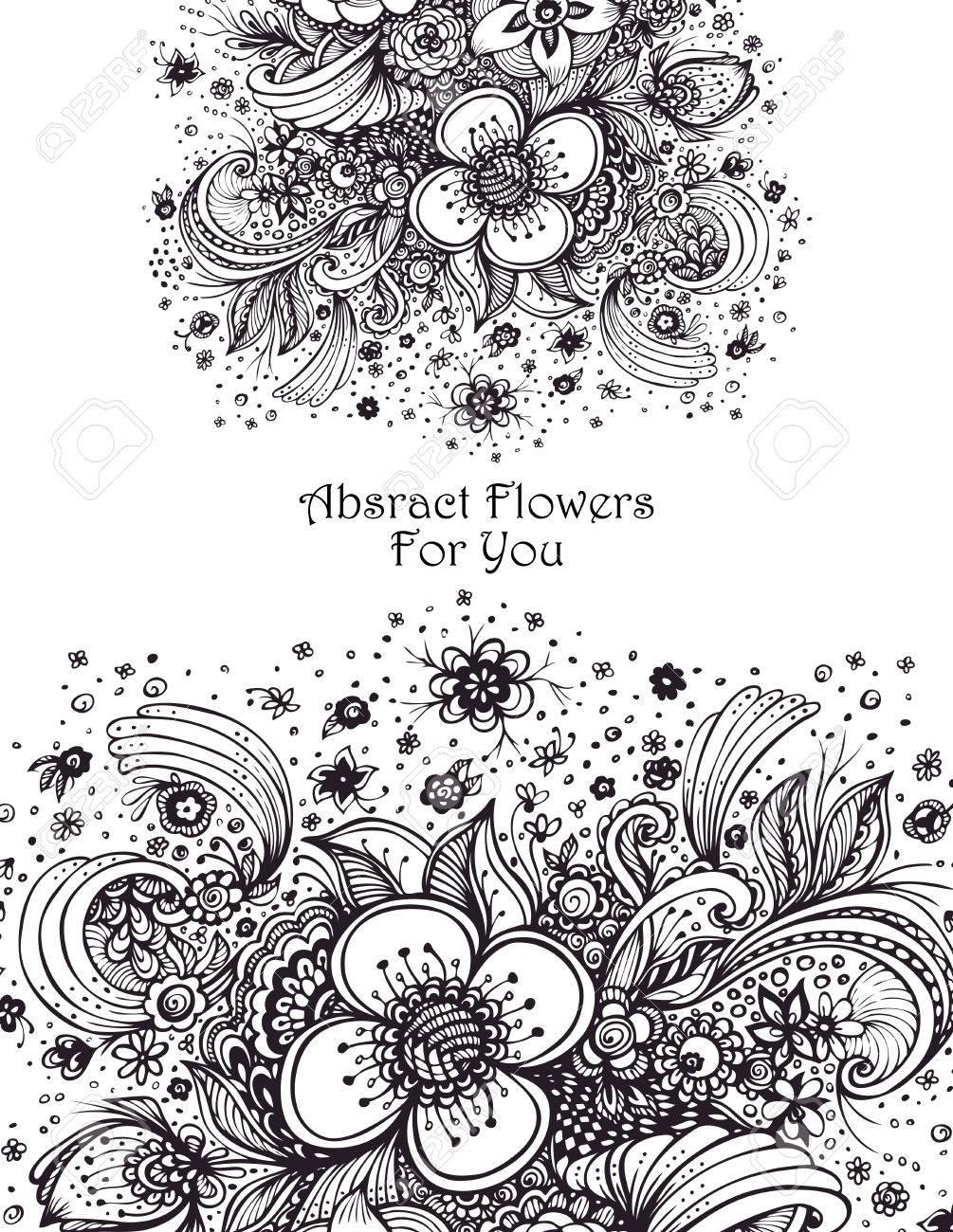 Modèle Avec Bouquet De Fleurs Abstraites Noir Sur Blanc Pour Coloriage Ou Adulte Relax Colorant Pour Parfum Ou Pour Shampooing Cosmétique