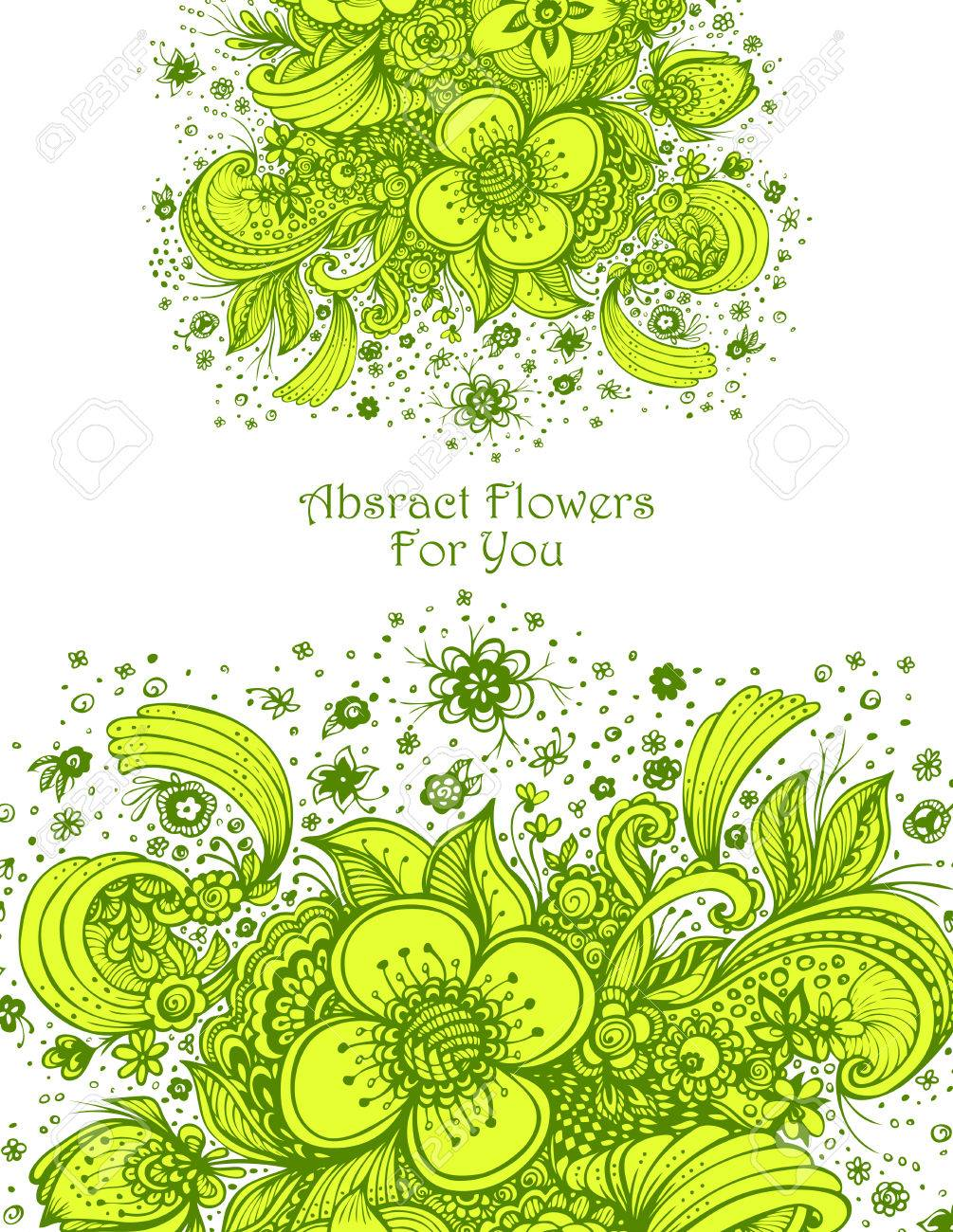 Template With Abstract Flowers Bouquet In Green Yellow On White ...