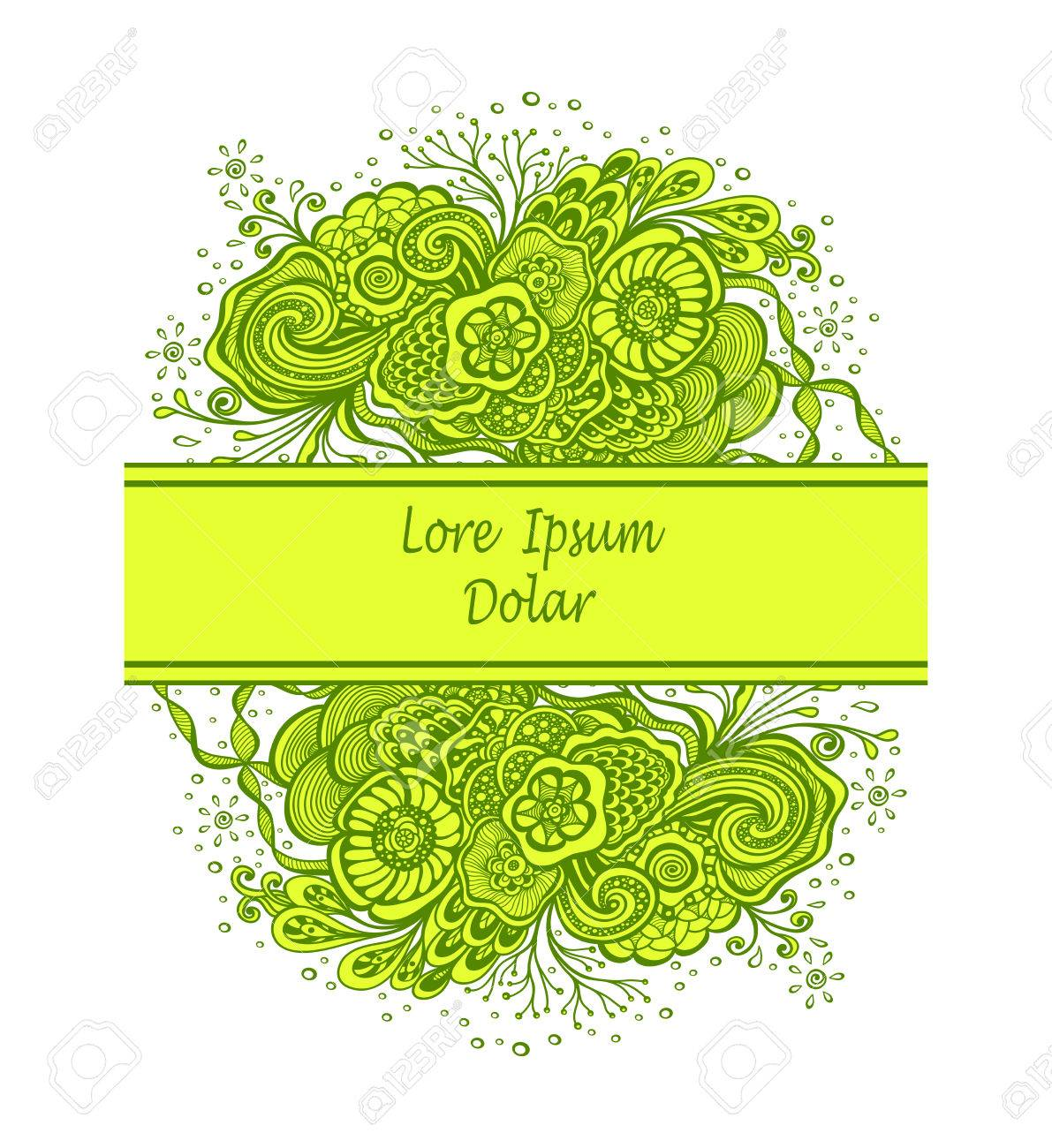 Template With Abstract Marine Flowers Bouquet In Green Yellow ...