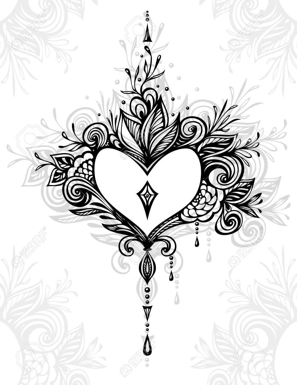 Handgefertigte Zentangle Herz Mit Blumen Im Boho Stil Für Tattoo