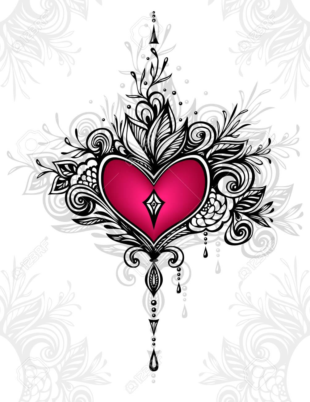 Handgefertigte Zentangle Herz Mit Blumen Im Boho Stil Fur Tattoo