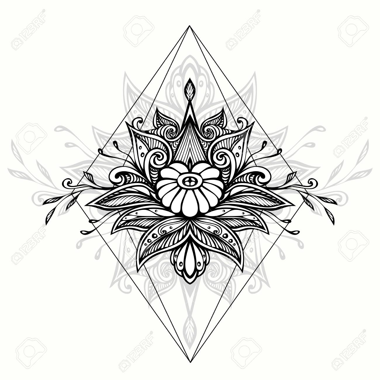 Abstract doodle symbol in boho Indian teen for coloring page..