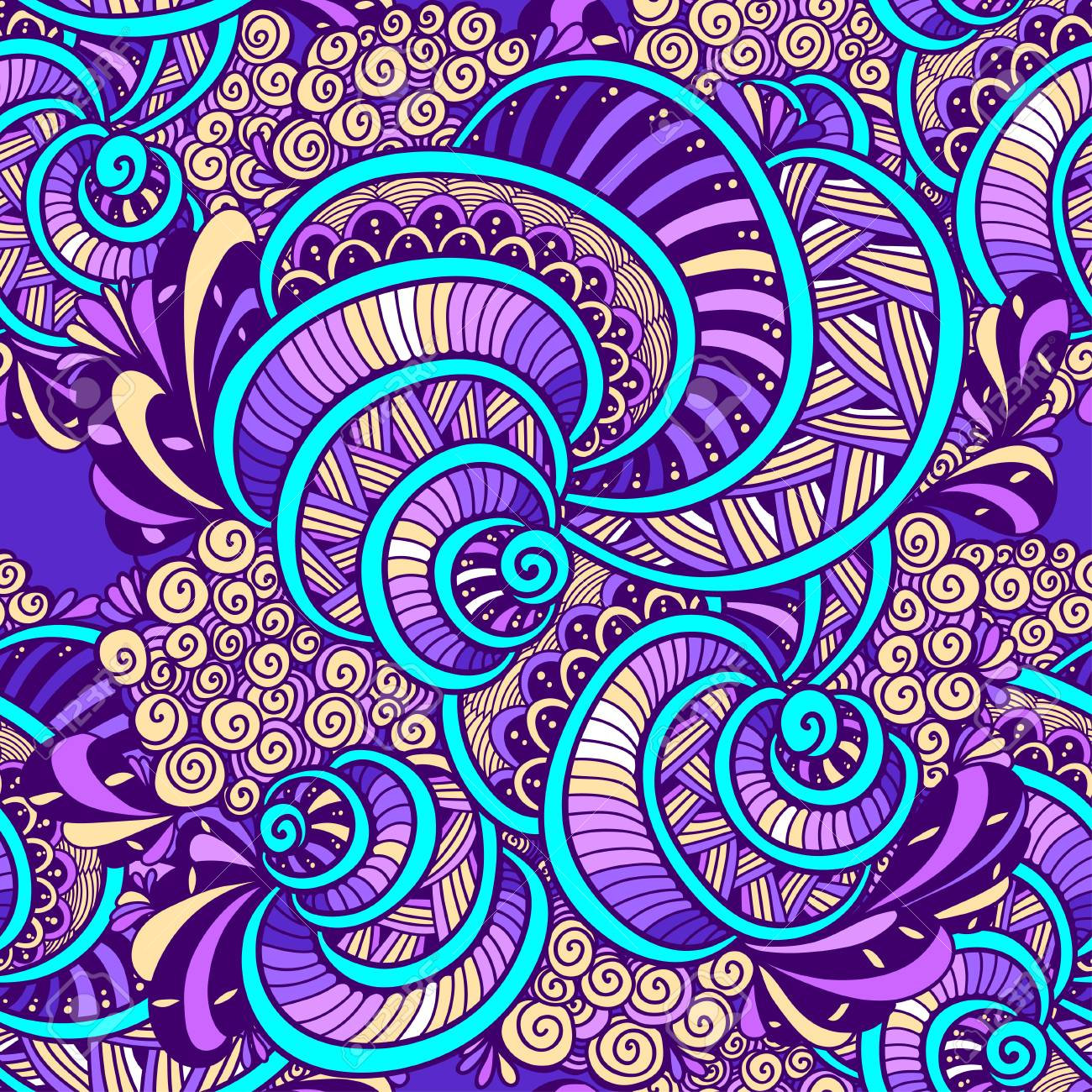 Colorful doodle art design textile illustration