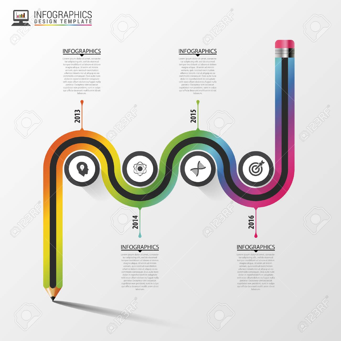 Ruta De Visita Colorida Abstracta. Plantilla Infografía Línea De ...