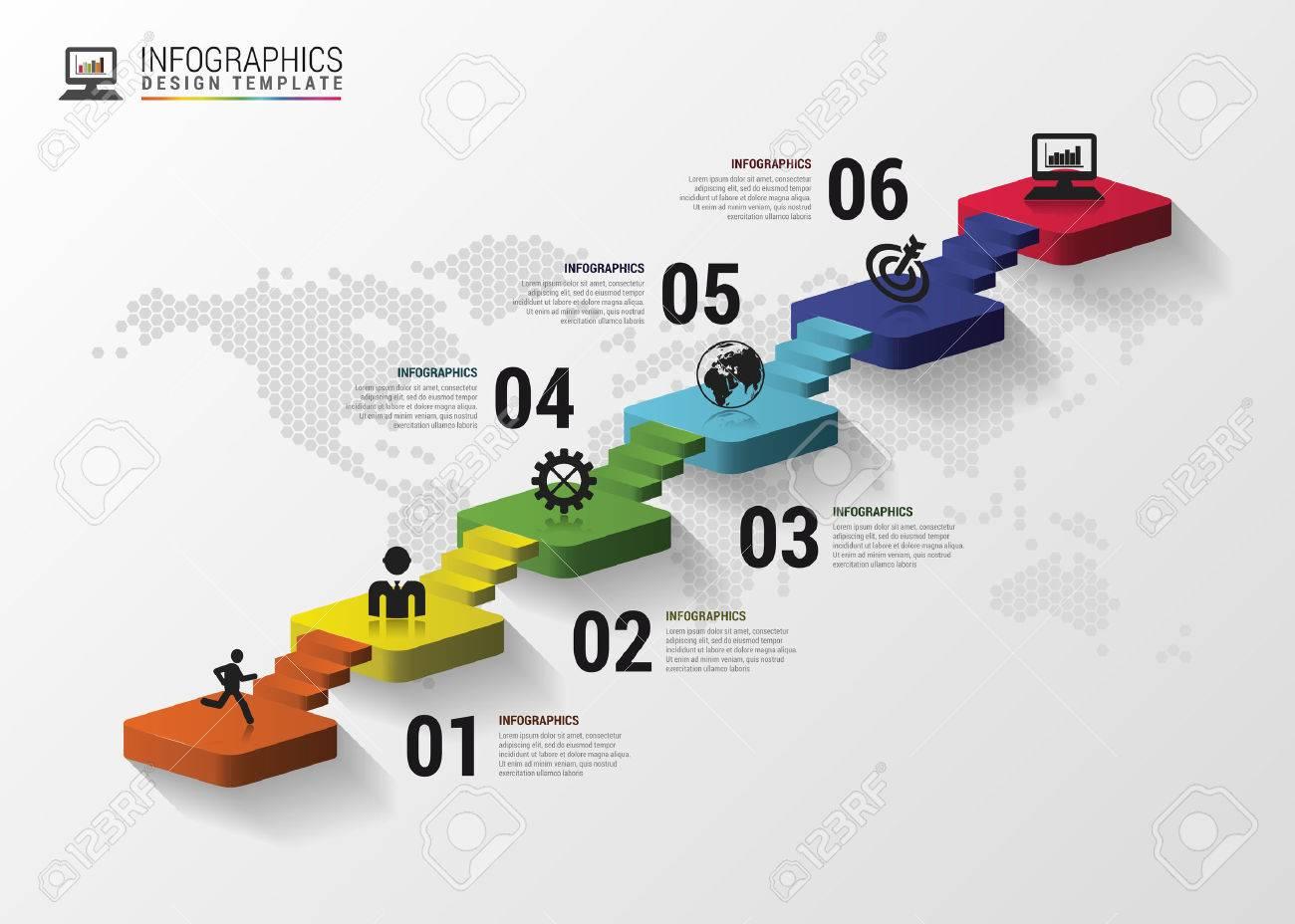 Escaleras 3d Infografía Abstractas O Plantilla De Línea De Tiempo ...