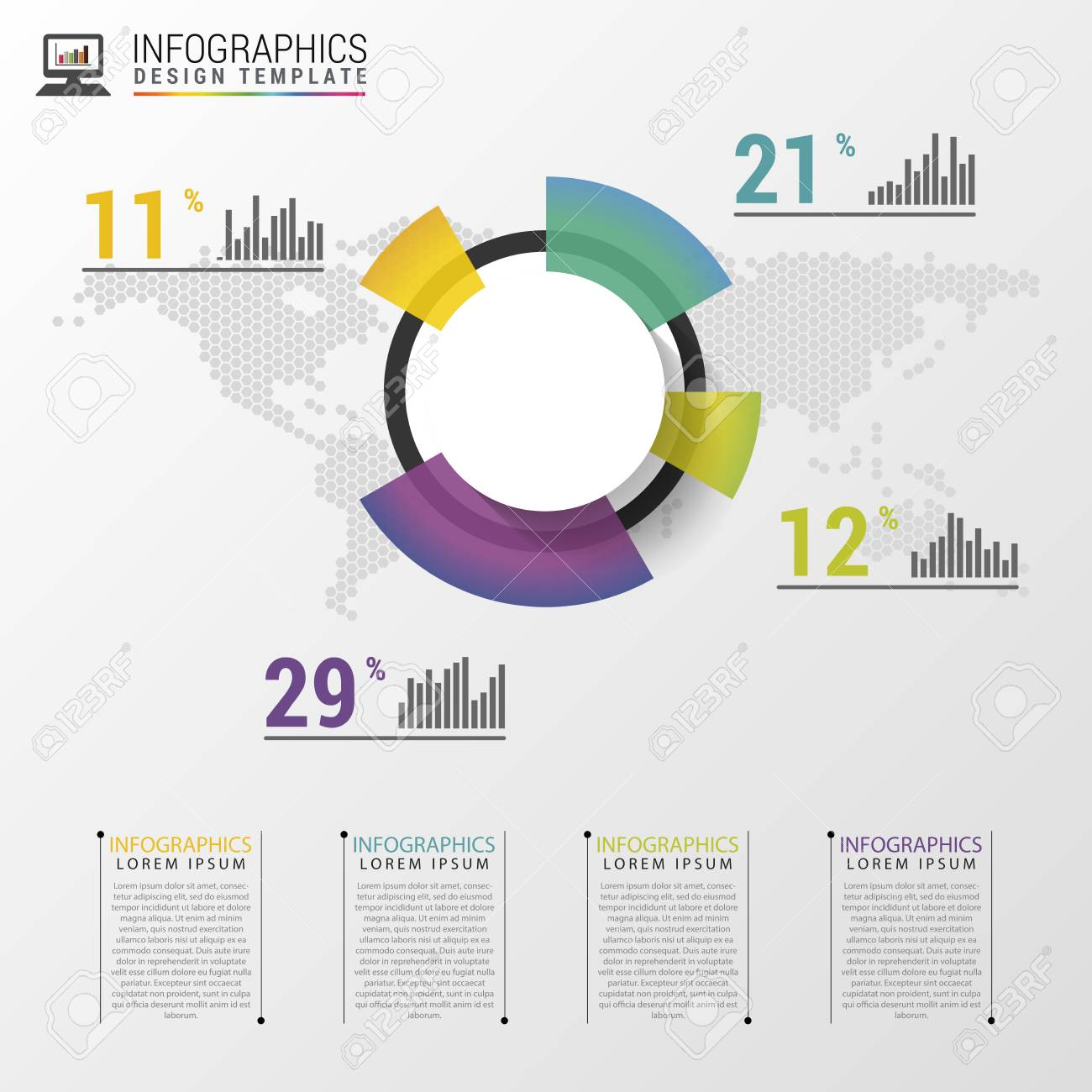abstract pie chart graphic for business design. modern infographic