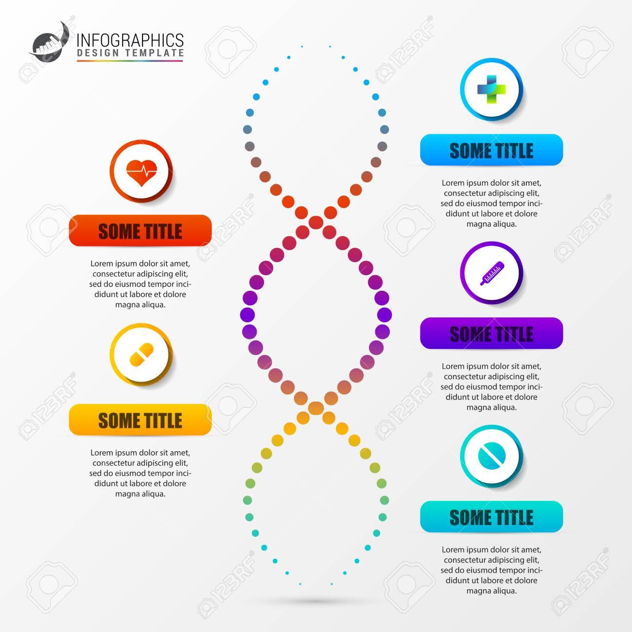 Plantilla De Infografía Con Estructura De Adn Concepto De Ciencia Ilustración Vectorial