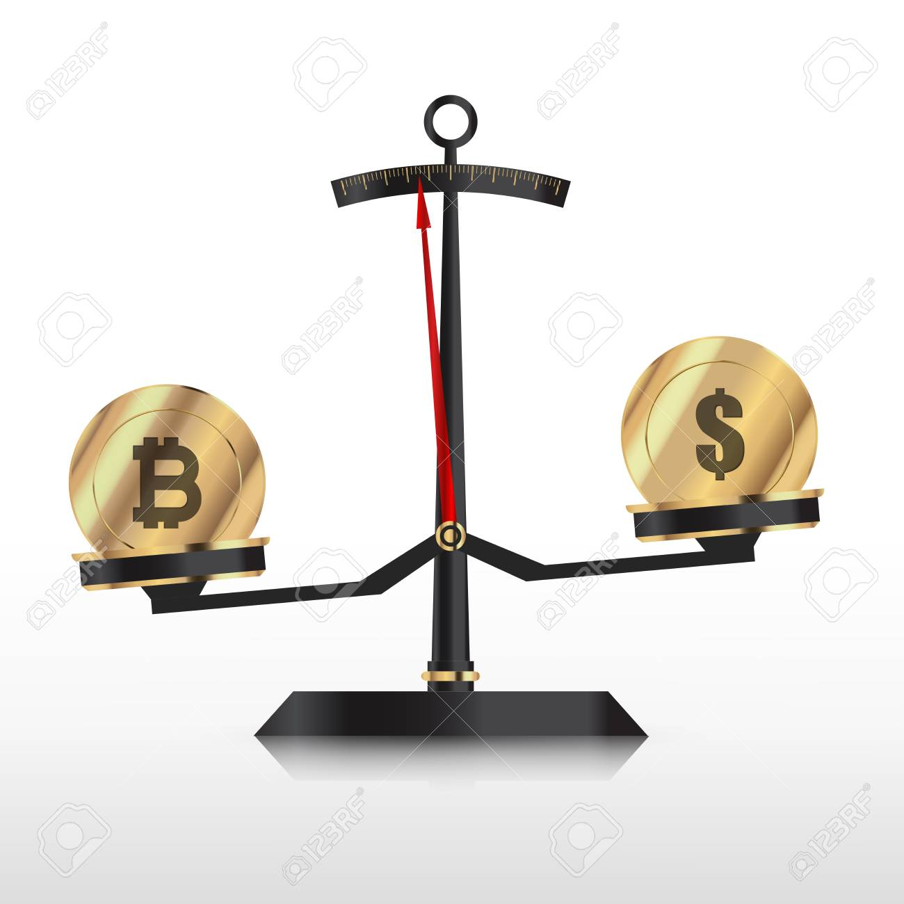 bitcoin and dollar sign on a weighing scale icon royalty free