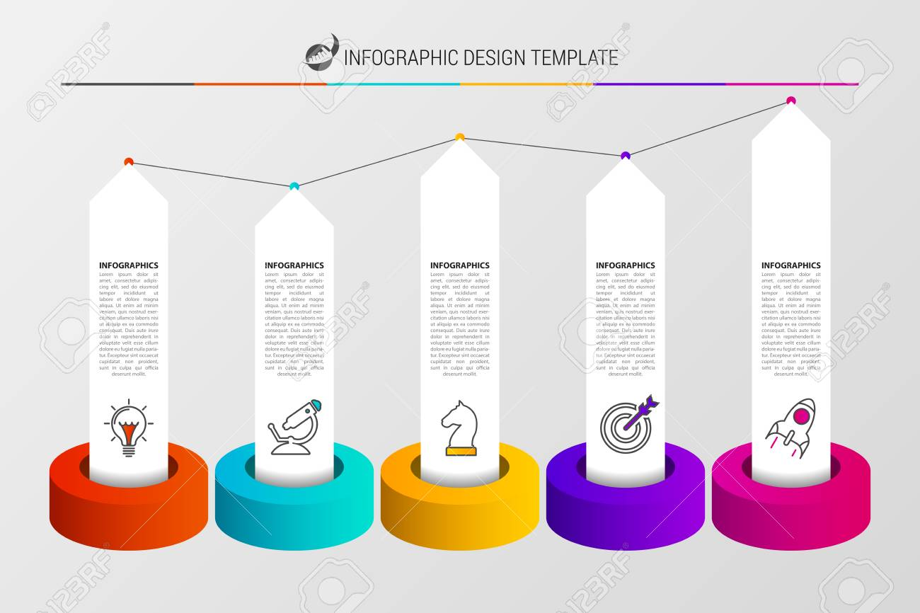 Infographic Design Template Organization Chart With 5 Steps
