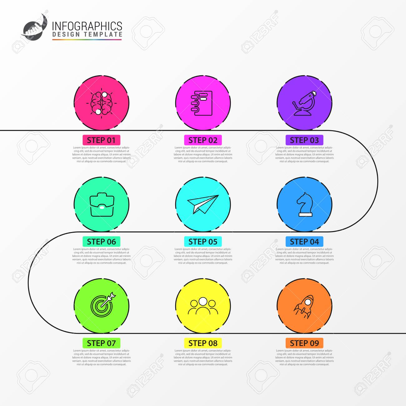 Infographic design template. Timeline concept with 9 steps. Can be used for workflow layout, diagram, banner, webdesign. Vector illustration - 120202557