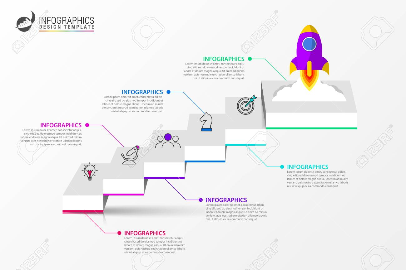 Infographic design template. Creative concept with 6 steps. Can be used for workflow layout, diagram, banner, webdesign. Vector illustration - 120202558