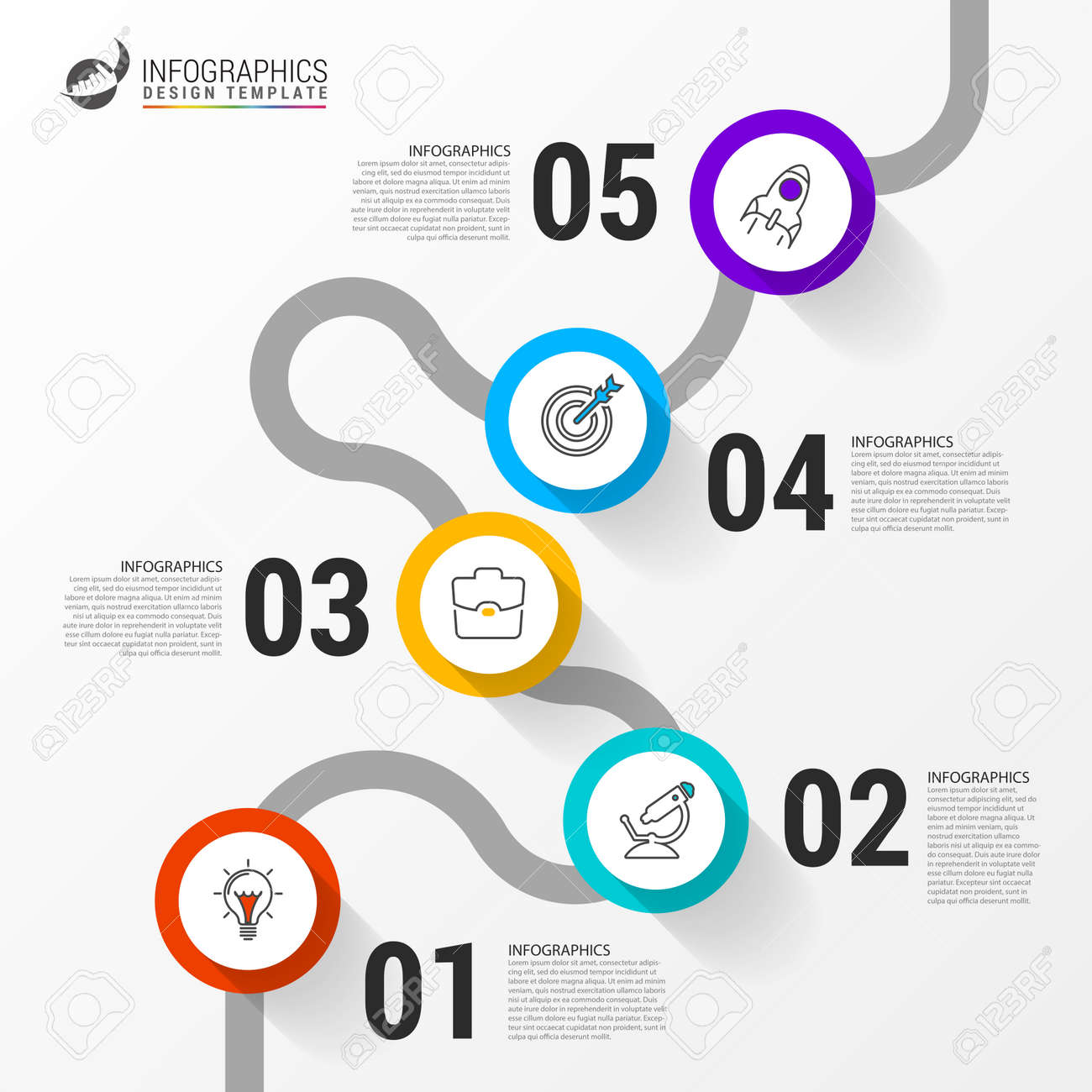 Infographic design template. Creative concept with 5 steps. Can be used for workflow layout, diagram, banner, webdesign. Vector illustration - 136424787